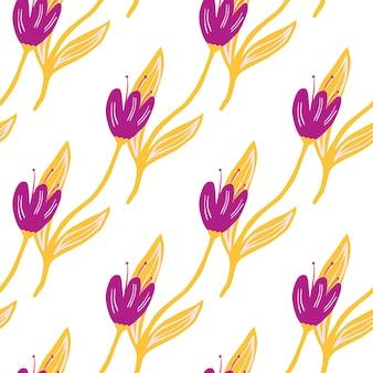 Modello senza cuciture elegante tulipano isolato su priorità bassa bianca.
