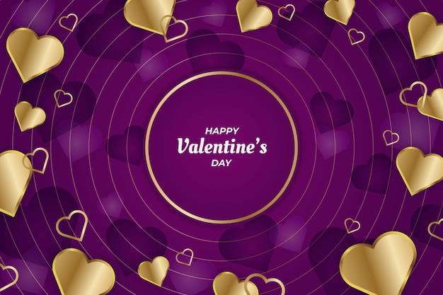 Elegante linea di cerchio di san valentino oro e sfondo viola