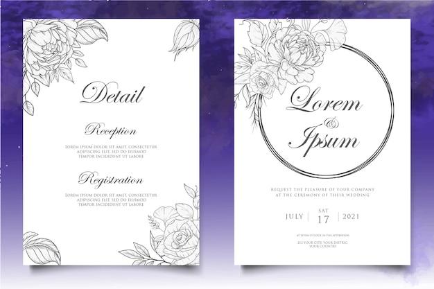Modello di invito matrimonio floreale vintage elegante
