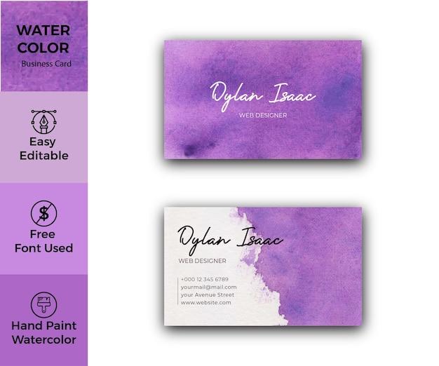 Modello di biglietto da visita dell'acquerello astratto viola elegante