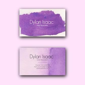 Biglietto da visita dell'acquerello astratto viola elegante