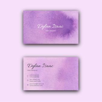 Modello di biglietto da visita dell'acquerello viola elegante