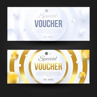 Elegante modello di progettazione voucher bianco e oro.
