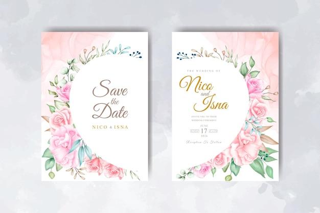 Elegante acquerello floreale e foglie invito a nozze