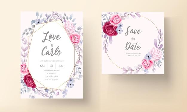 Carta di invito matrimonio floreale dell'acquerello elegante