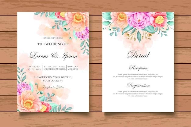Elegante biglietto d'invito per matrimonio floreale ad acquerello