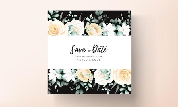 Elegante modello di set di inviti di nozze floreali ad acquerello