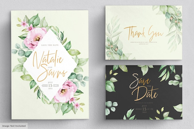 Carta di invito matrimonio floreale disegnata a mano dell'acquerello elegante