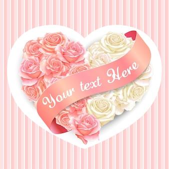 Elegante cuscino rosa cuore acquerello con banner nastro rosa