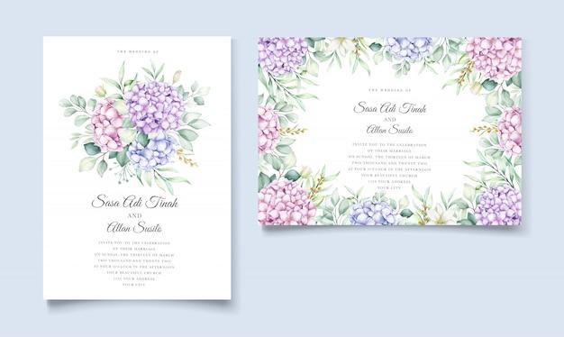 Set di carte invito matrimonio floreale elegante ortensia acquerello Vettore Premium