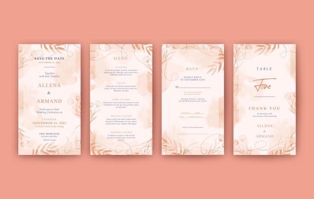 Modello di storie di instagram acquerello elegante per il matrimonio