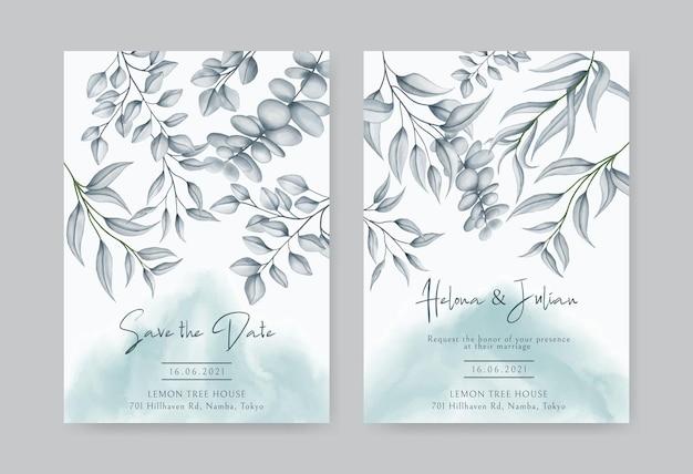 Elegante cornice di foglie acquerello per modello di carta di invito a nozze