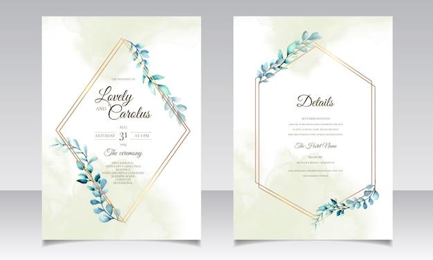 Insieme di carta elegante dell'acquerello delle foglie dell'acquerello