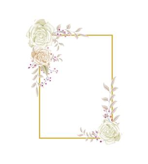 L'acquerello elegante lascia il disegno di vettore del telaio dell'invito di nozze