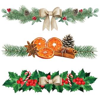 Eleganti divisori natalizi naturali ad acquerello
