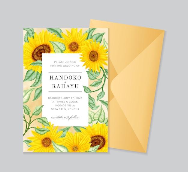 Elegante modello di biglietto d'invito per matrimonio con girasole ad acquerello