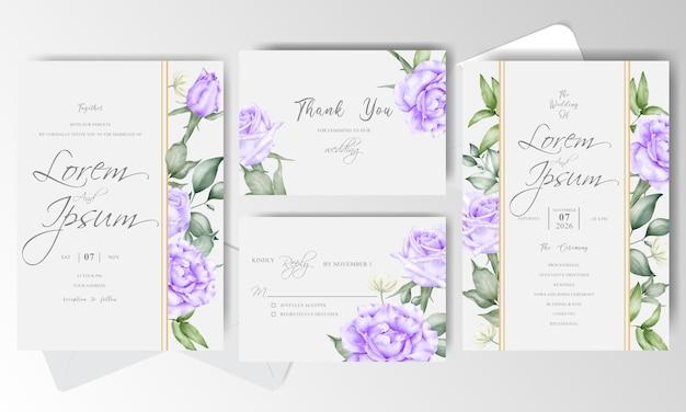 Modello stabilito della carta dell'invito di nozze dell'acquerello elegante