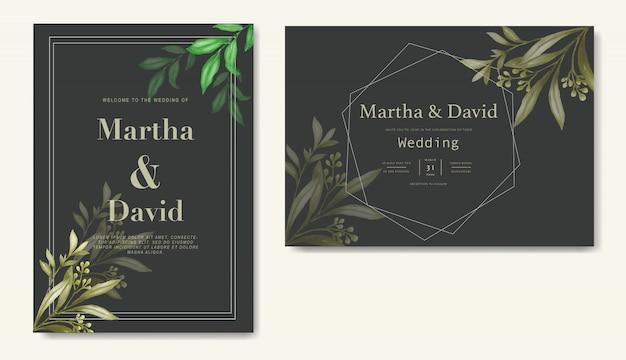 Modello di invito matrimonio acquerello elegante