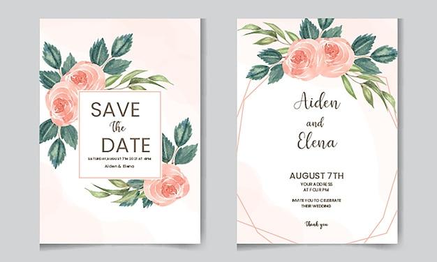 Invito a nozze acquerello elegante con rosa