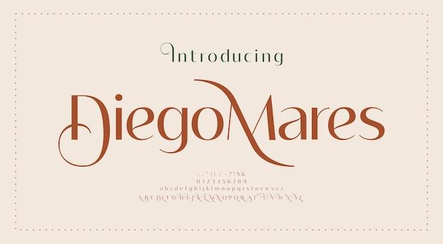 Carattere lettera alfabeto matrimonio elegante. tipografia lusso classico caratteri serif decorativi vintage retrò