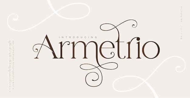 Elegante matrimonio lettere dell'alfabeto carattere e numero. tipografia caratteri serif classici decorativi vintage