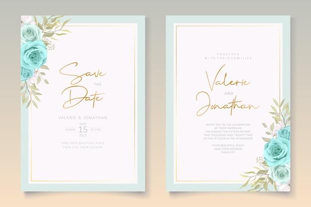 Design elegante carta di nozze con fiori blu