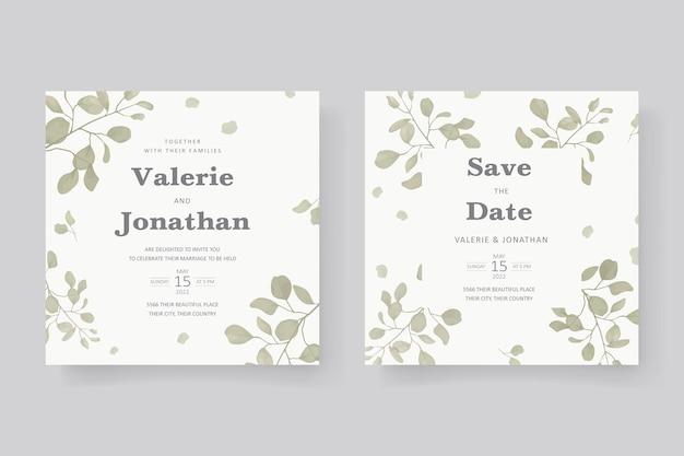 Elegante design per partecipazioni di nozze con ornamento a foglia
