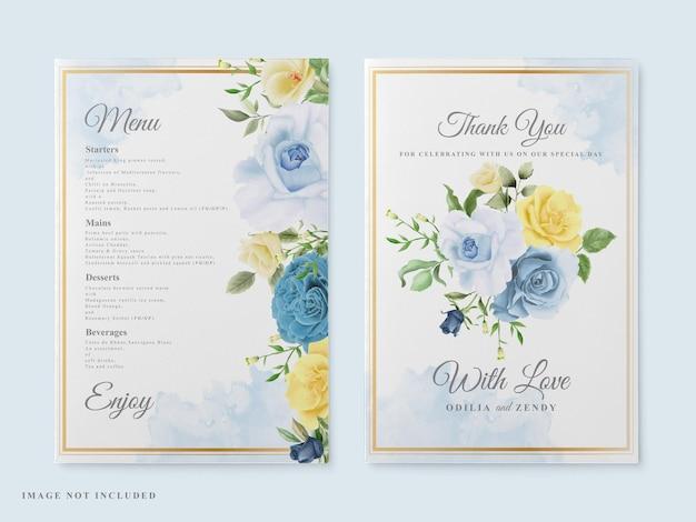 Acquerello floreale della carta di nozze elegante