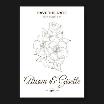 Invito a carta di matrimonio elegante con modello di rosa di contorno