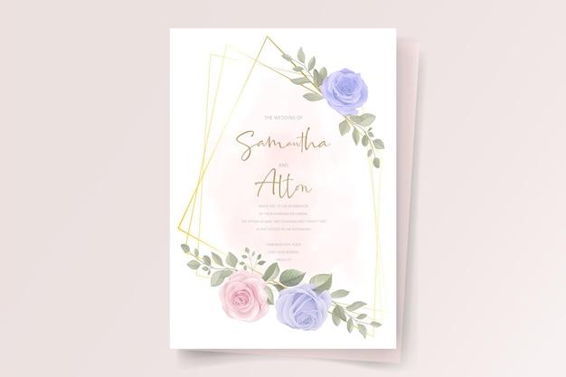 Elegante modello di partecipazione di nozze con ornamento di rosa in fiore