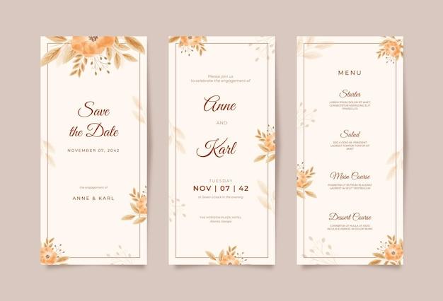 Elegante modello di partecipazione di nozze con acquerello floreale boho