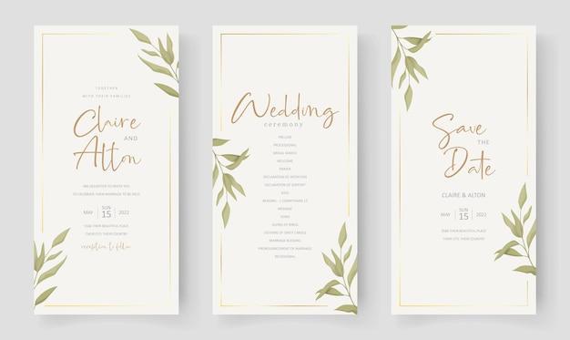 Elegante modello di partecipazione di nozze con ornamento di foglie di eucalipto
