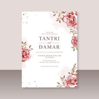 Elegante modello di partecipazione di nozze con acquerello dipinto a mano floreale