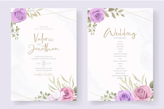 Elegante modello di partecipazione di nozze con morbido ornamento floreale e foglie