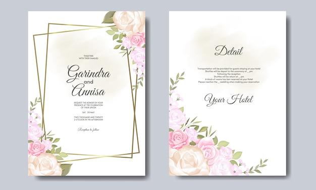 Partecipazione di nozze elegante con bellissimo modello floreale e foglie premium vector