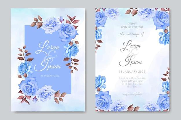 Carta di matrimonio elegante con rose blu
