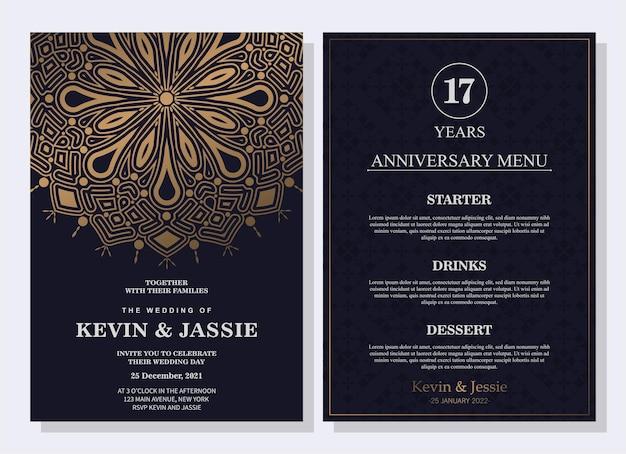 Modello di menu per il concetto di matrimonio elegante