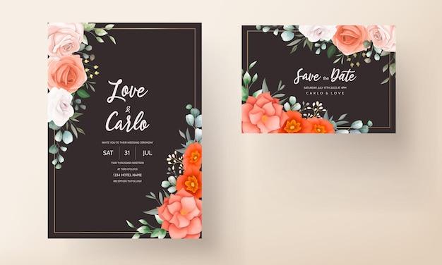 Carta di invito matrimonio elegante decorata con bellissimi fiori d'arancio