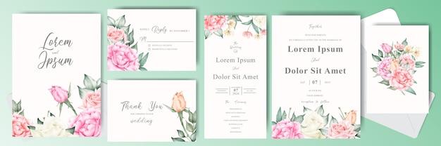Modello di set di carte invito matrimonio elegante