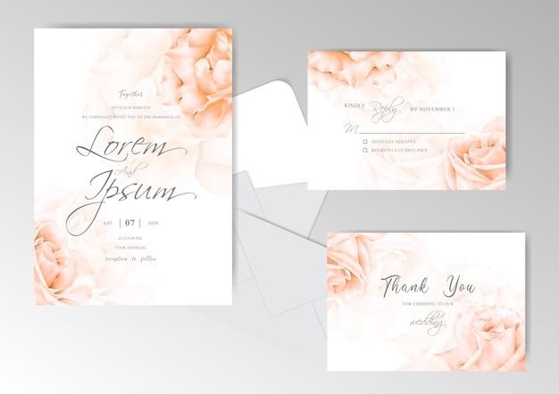 Modello di set di carte di invito matrimonio elegante