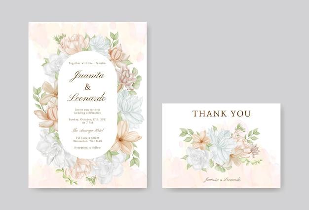 Elegante set di biglietti d'invito per matrimonio con fiori ad acquerello