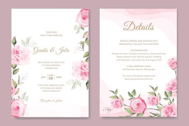 Design elegante modello di carta di invito a nozze con rose