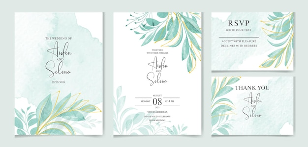 Modello di carta di invito matrimonio elegante con belle foglie e splash