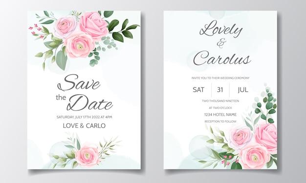 Il modello elegante della carta dell'invito di nozze ha messo con le belle rose e foglie verdi rosa