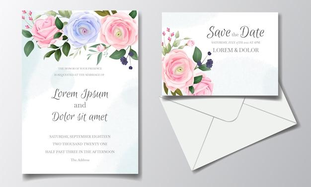 Il modello elegante della carta dell'invito di nozze ha messo con le belle rose e foglie verdi