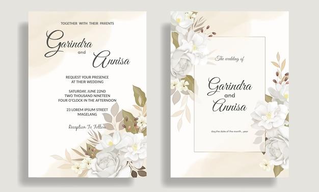 Modello di carta di invito matrimonio elegante con bellissimi fiori bianchi e foglie