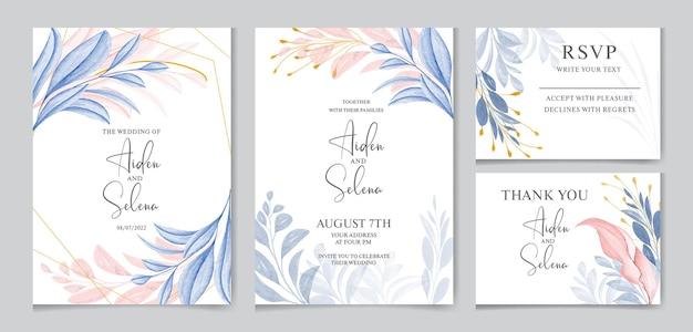 Modello di carta di invito matrimonio elegante con decorazioni di foglie marroni e blu