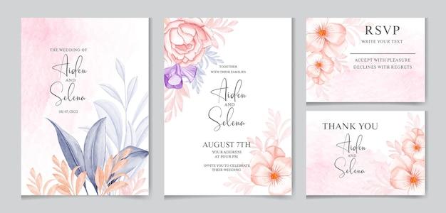 Modello di carta di invito matrimonio elegante con decorazione marrone e rosa pesca e bellissime foglie