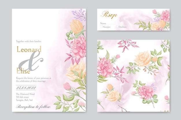Modello di carta di invito matrimonio elegante impostato con fascio floreale senza cuciture
