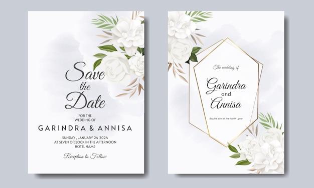 Modello di carta di invito matrimonio elegante con fiori bianchi e foglie